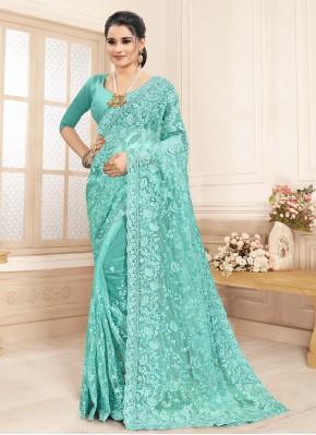 Floral Net Resham Aqua Blue Bollywood Saree