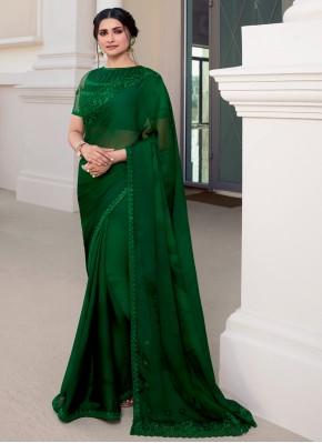 Floral Prachi Desai Green Faux Chiffon Classic Designer Saree