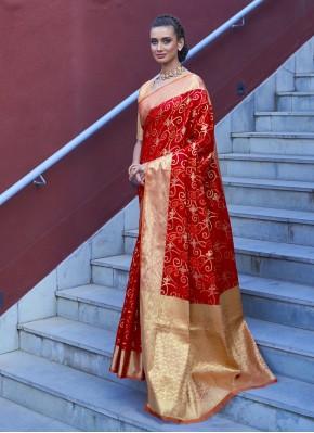 Floral Red Festival Traditional Designer Saree