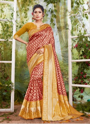 Floral Silk Maroon Weaving Traditional Designer Saree