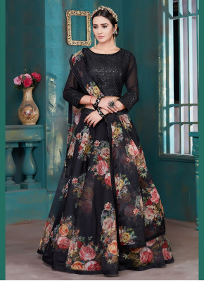 Flower Print Tissue Bollywood Replica Lehenga Choli