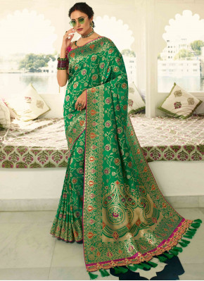 Forest Green Banarasi Silk Traditional All Over Woven Saree with Tassels