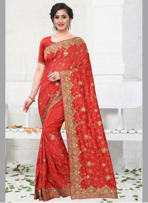 Genius Silk Red Designer Bollywood Saree