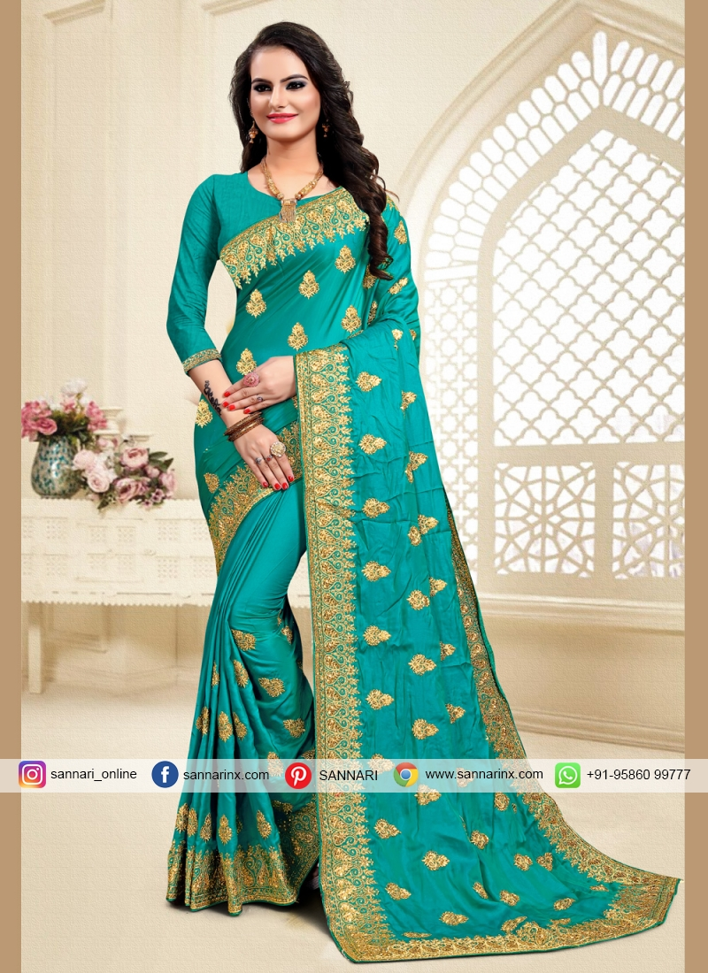 Genius Zari Satin Silk Turquoise Traditional Saree