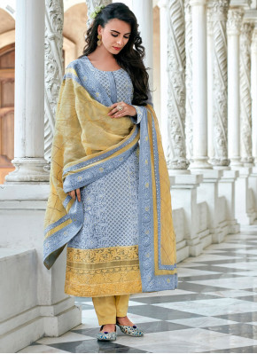 Georgette Aqua Blue Embroidered Trendy Salwar Suit