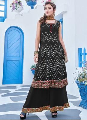 Georgette Black Embroidered Salwar Suit