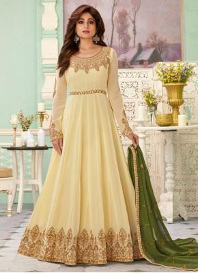 Georgette Cream Zari Anarkali Salwar Suit