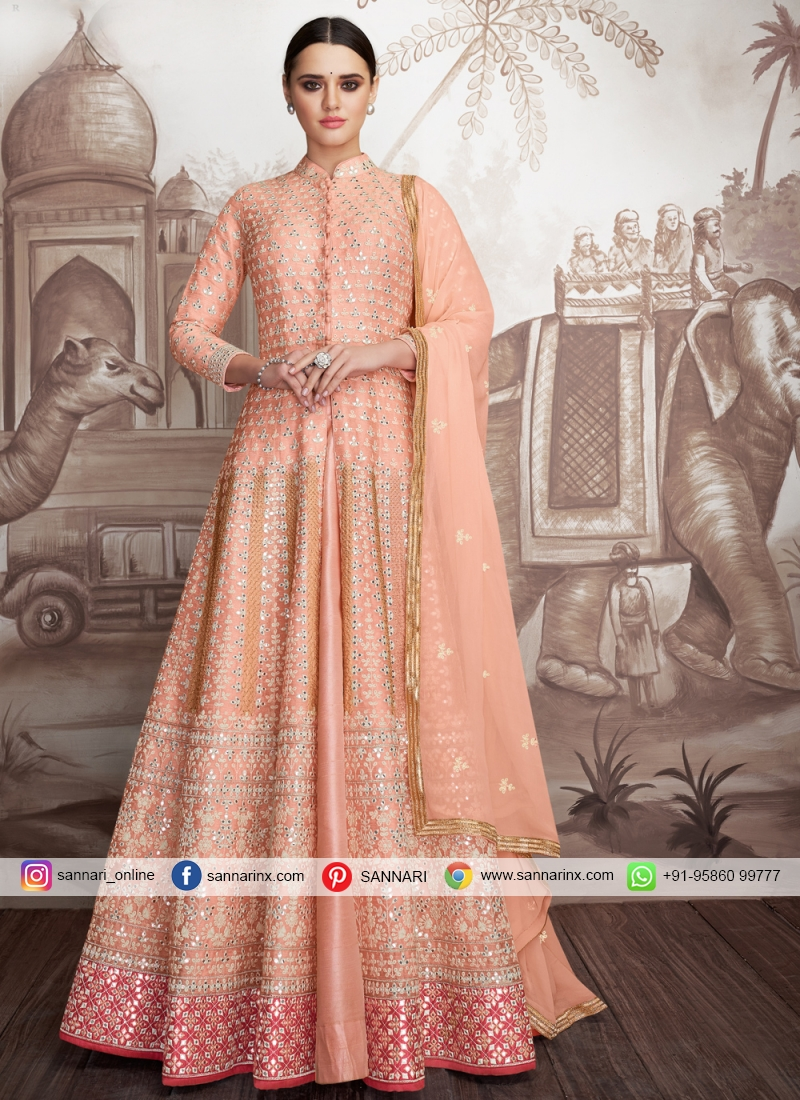 Georgette Embroidered Anarkali Suit in Peach