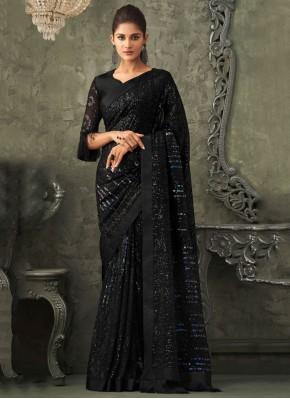 Georgette Embroidered Black Classic Designer Saree