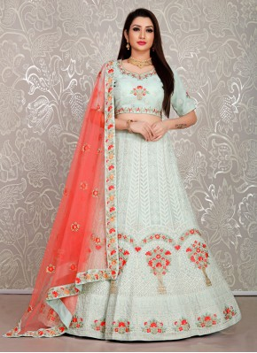 Georgette Embroidered Designer Lehenga Choli in Green