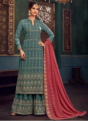 Georgette Embroidered Designer Pakistani Salwar Suit in Sea Green