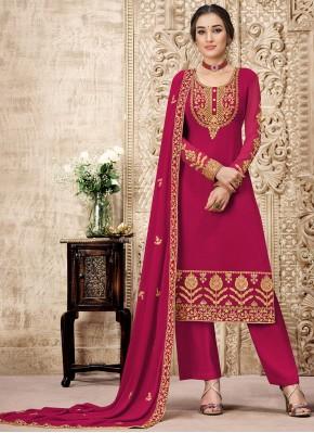 Georgette Embroidered Designer Salwar Suit in Pink