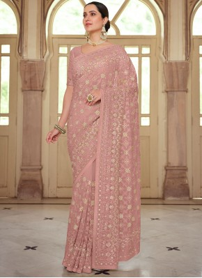 Georgette Embroidered Trendy Saree in Pink