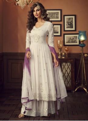 Georgette Embroidered White Salwar Kameez
