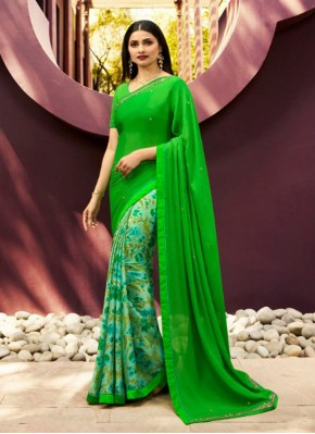 Georgette Green Contemporary Saree