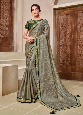 Georgette Green Embroidered Designer Traditional Saree