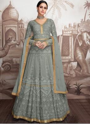 Georgette Grey Embroidered Salwar Suit