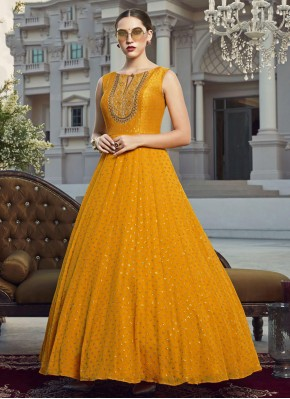 Georgette Handwork Readymade Gown in Mustard