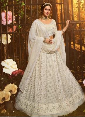 Georgette Lehenga Choli in White