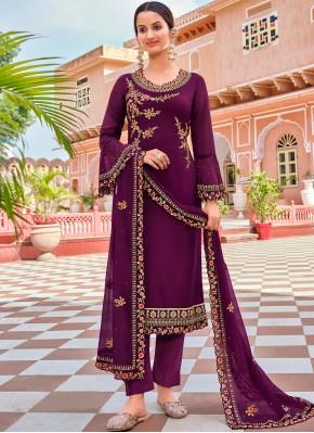 Georgette Purple Pant Style Suit