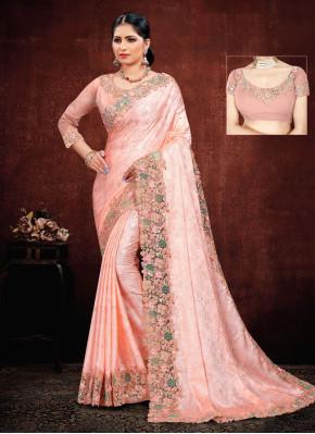 Georgette Satin Classic Saree in Pink