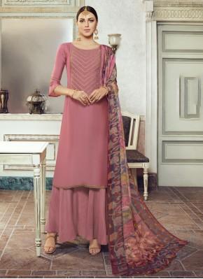 Georgette Satin Designer Pakistani Salwar Suit in Mauve