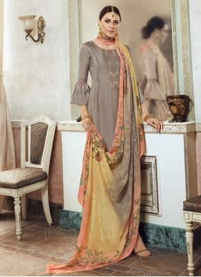 Georgette Satin Grey Designer Pakistani Salwar Suit