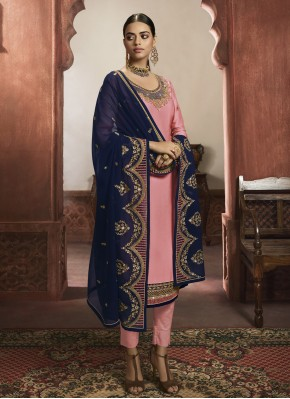 Georgette Satin Readymade Salwar Suit in Pink