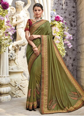 Georgette Satin Resham Green Classic Designer Saree