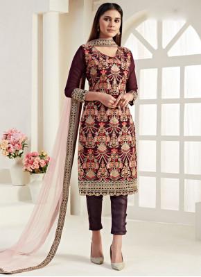 Georgette Trendy Straight Salwar Suit in Wine