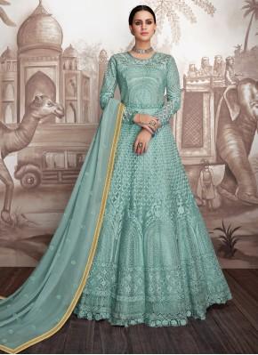 Georgette Turquoise Anarkali Salwar Suit