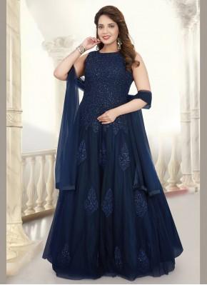 Gilded Embroidered Blue Net Readymade Salwar Kameez