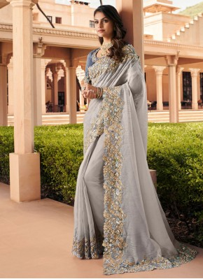 Gilded Georgette Embroidered Grey Contemporary Saree