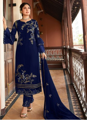 Gilded Georgette Embroidered Navy Blue Designer Suit