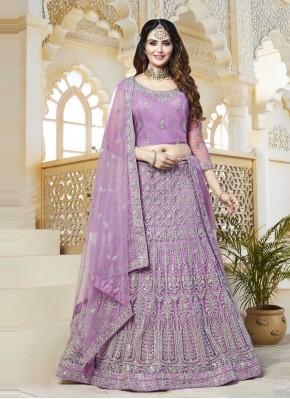 Gilded Net Lavender Resham Lehenga Choli