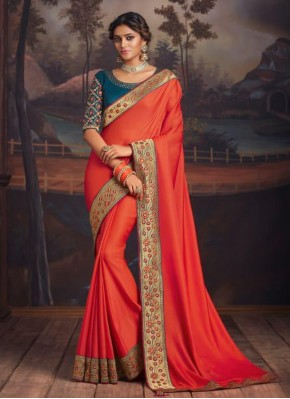 Gilded Orange Silk Designer Traditional Saree