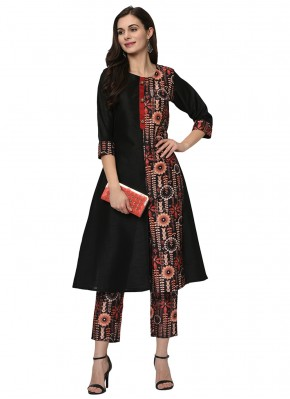 Gilded Printed Poly Silk Black Party Wear Kurti