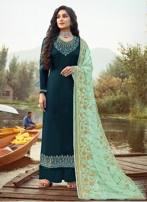 Girlish Faux Georgette Embroidered Green Designer Palazzo Salwar Suit