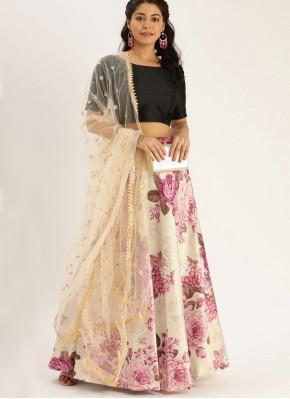 Girlish Floral Print Satin Silk A Line Lehenga Choli