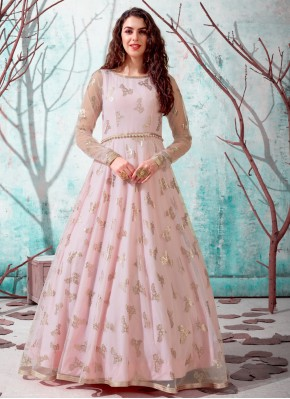 Girlish Pink Net Designer Gown