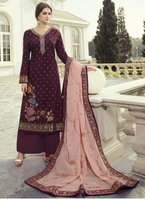 Girlish Purple Fancy Fabric Designer Pakistani Suit