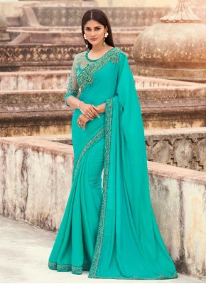 Girlish Silk Sea Green Traditional Saree