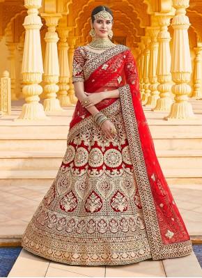 Girlish Velvet Red Zari Designer Lehenga Choli