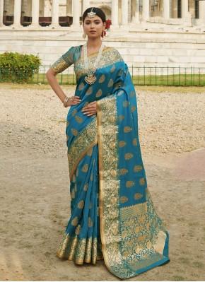 Glamorous Blue Festival Designer Traditional Saree