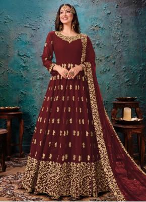 Glamorous Faux Georgette Maroon Embroidered Bollywood Salwar Kameez