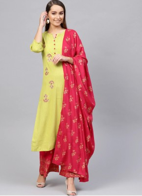 Glamorous Green Embroidered Readymade Suit