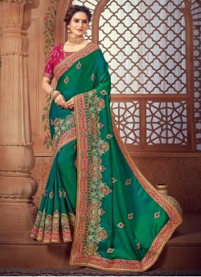 Glamorous Green Party Bollywood Saree