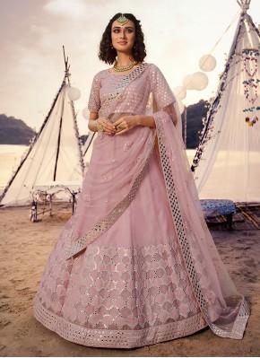 Glamorous Organza Pink Mirror A Line Lehenga Choli