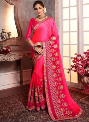 Glamorous Pink Silk Designer Saree