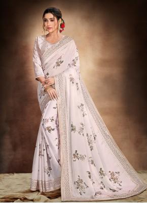 Glamorous Satin Grey Printed Saree